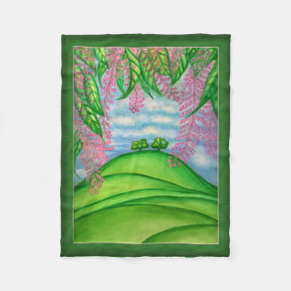 2 Trees & the Macadamia Flowers Painting Fleece Blanket