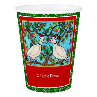 2 Turtle Doves Cute Animals 12 Days of Christmas Paper Cup