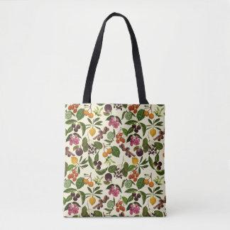 2-way Handpainted Exotic Tropical Fruit Pattern Tote Bag