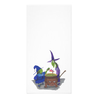 2 Witches brewing up potion in Cauldron Halloween Photo Greeting Card