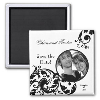 "2""x2"" Save the Date Magnet Black White Floral Refrigerator Magnet"