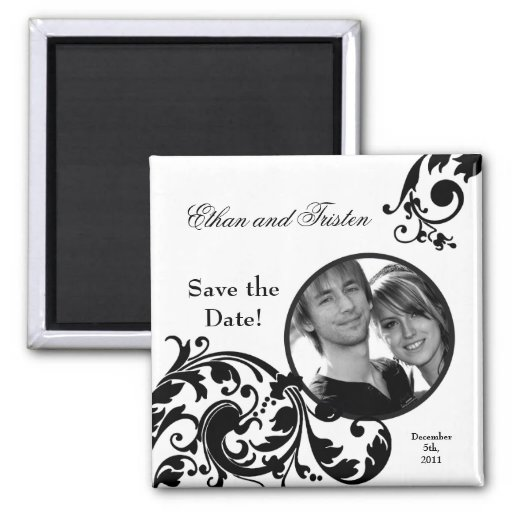 """2""""x2"""" Save the Date Magnet Black White Floral Refrigerator Magnet"""