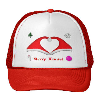 2 Xmas hats form a heart and other decorations