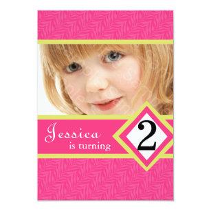 2 Year Old Birthday Party Invitations Zebra GIRL