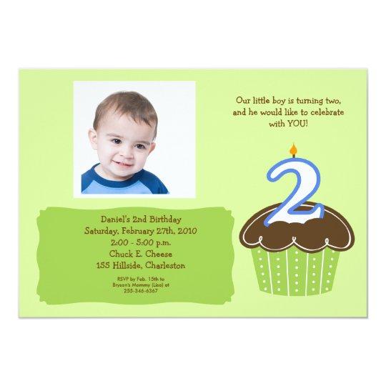 2 Year Old Cupcake Photo Birthday Invite Zazzle