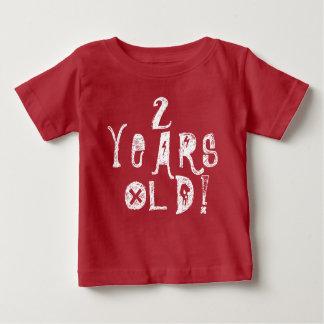 2 years old cute baby birthday red  skull rock baby T-Shirt
