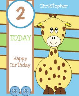 2 Years Old Today Any Age Giraffe Boy Birthday Card