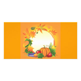 2ai, fall, harvest, wreath, colourful, vegetables, personalised photo card