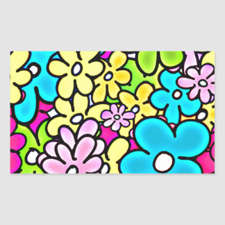 2bght BRIGHT COLORFUL FLOWERS PATTERN FUN PARTY YE Rectangular Sticker