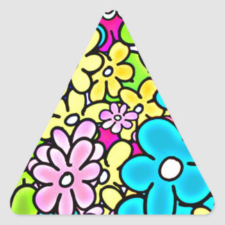 2bght BRIGHT COLORFUL FLOWERS PATTERN FUN PARTY YE Triangle Stickers
