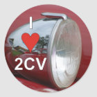 2CV duck headlight I love Classic Round Sticker