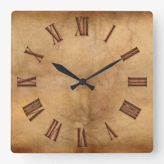 2D Copper on Parchment-effect Modern Art Clock