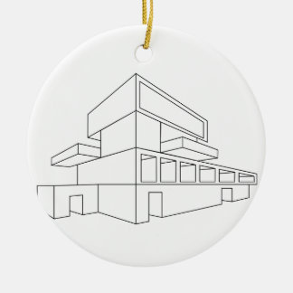 2D perspective drawing of a house Christmas Ornament
