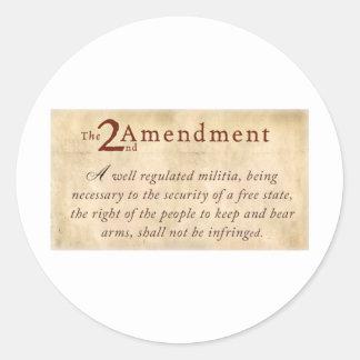 2nd Amendment Vintage Classic Round Sticker