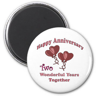 2nd. Anniversary 6 Cm Round Magnet