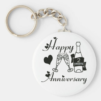 2nd. Anniversary Basic Round Button Key Ring