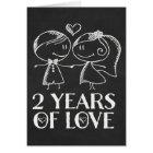 2nd Anniversary Chalk board couple Card