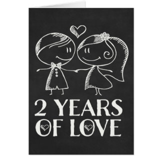2nd Anniversary Chalk board couple Greeting Card