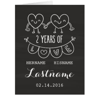 2nd Anniversary Gift For Her Chalk Personalized Big Greeting Card