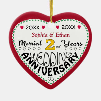 2nd Anniversary Gift Heart Shaped Christmas Christmas Ornament