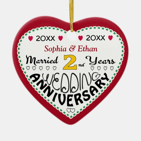 2nd Anniversary Gift Heart Shaped Christmas Christmas Ornament