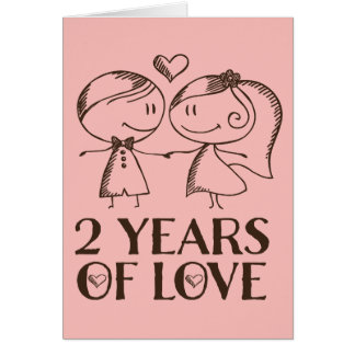 2nd Anniversary Hand Drawn Couple Greeting Card