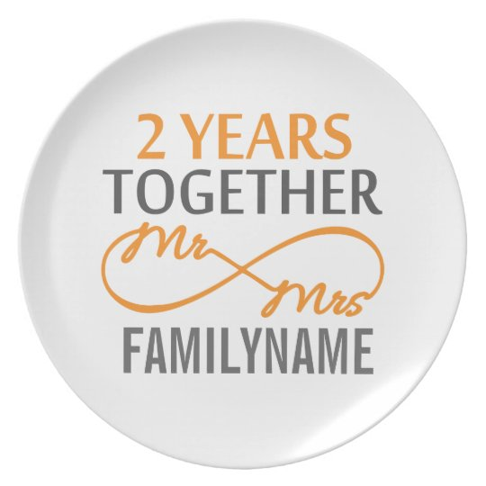 2nd Anniversary Mr. & Mrs Infinity Personalised Plate
