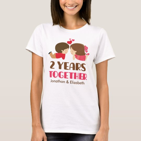 2nd Anniversary Personalised Couples T-shirt