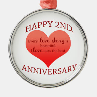 2nd. Anniversary Silver-Colored Round Decoration