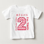 2nd BABY Birthday Big Number A30 PINK CHEVRONS Tees