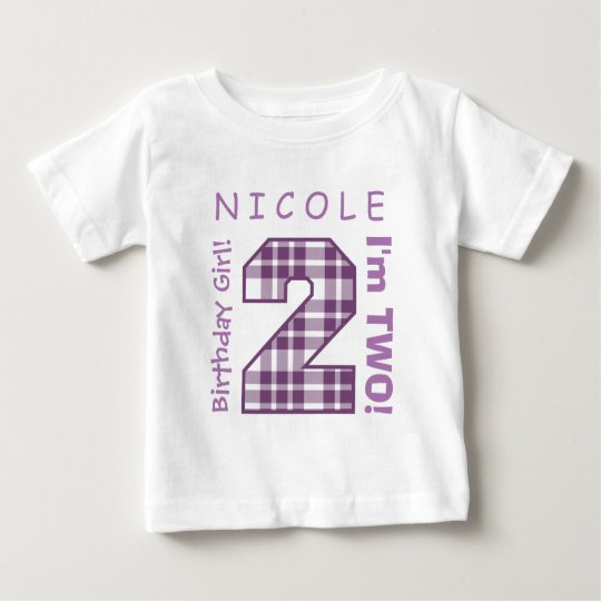 2nd BABY Birthday Big Number A42 PURPLE PLAID