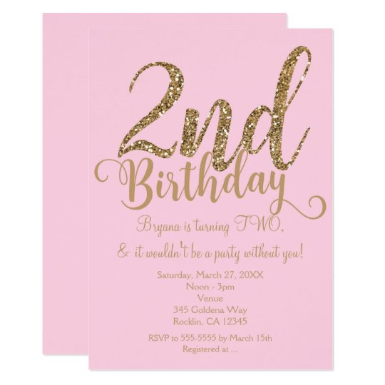 2nd BIRTHDAY 2 Pink & Gold Party TWO