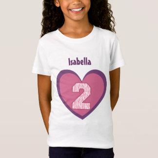 2nd Birthday 2 Year Old Zebra Number Heart V121 T-Shirt