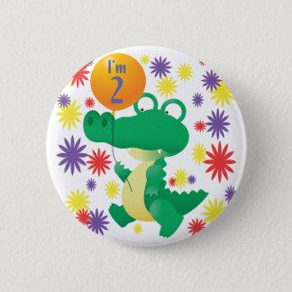 2nd Birthday Alligator 6 Cm Round Badge