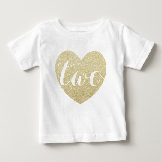 2nd Birthday Baby Girl Glitter heart-Print Baby T-Shirt