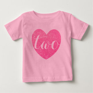 2nd Birthday Baby Girl Glitter heart-Print Pink Baby T-Shirt