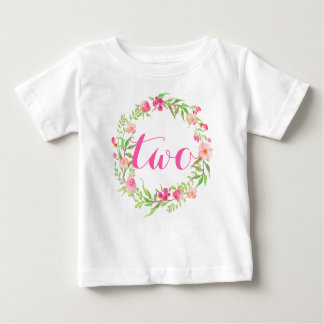 2nd Birthday Baby Girl Watercolor Floral Wreath Baby T-Shirt