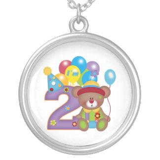 2nd Birthday Bear Clown Birthday Round Pendant Necklace