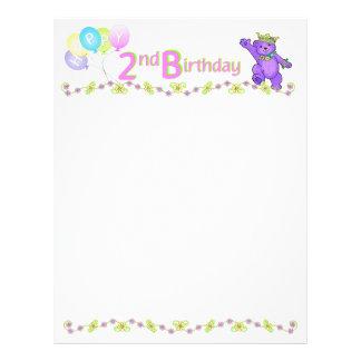2nd Birthday Bear Custom Scrapbook Paper 1 21.5 Cm X 28 Cm Flyer