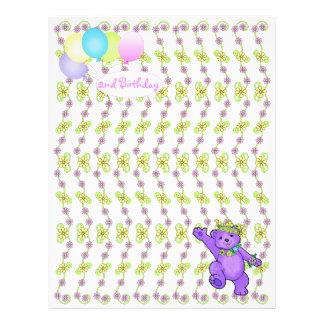 2nd Birthday Bear Custom Scrapbook Paper 3 21.5 Cm X 28 Cm Flyer