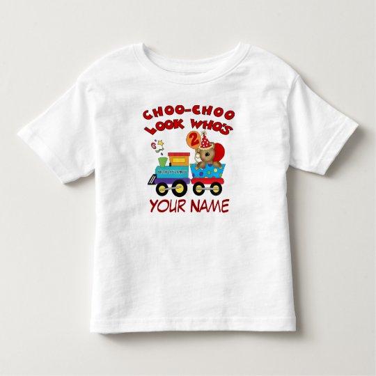 2nd birthday bear train personalised t-shirt