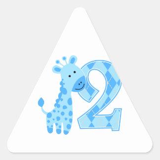 2nd Birthday Blue Giraffe Stickers