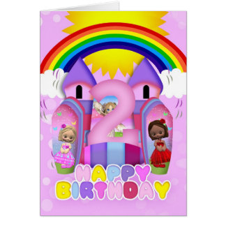 2nd Birthday Bouncy Castle Greeting Card For Girls