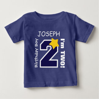 2nd Birthday Boy BLUE One Year Custom Name A01A Baby T-Shirt