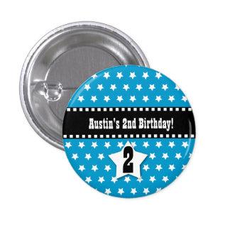 2nd Birthday Boy Stars Dashed Ribbon V02 3 Cm Round Badge