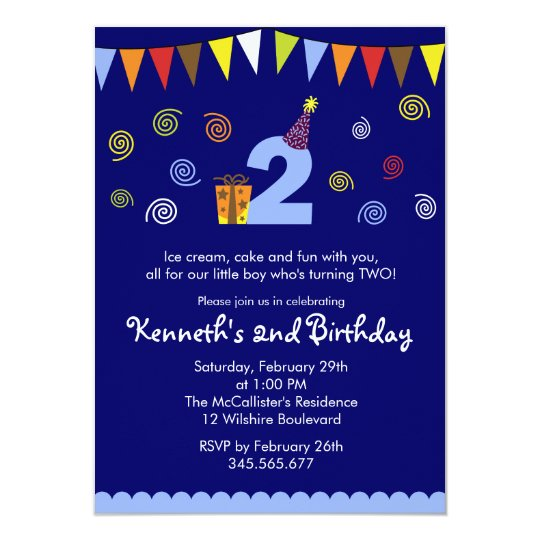 2nd Birthday Boy's Cute Party Invitation