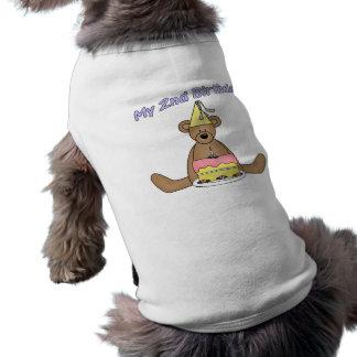 2nd Birthday Cake and Bear Sleeveless Dog Shirt