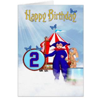 2nd Birthday Card - Cute Little Pixie Clown