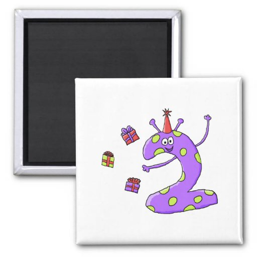 2nd Birthday Cartoon in Purple. Fridge Magnets
