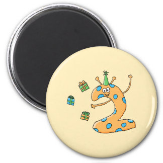 2nd Birthday Cartoon - Orange 6 Cm Round Magnet